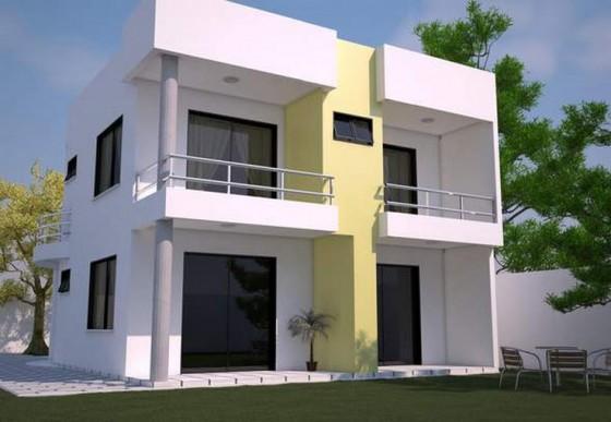fachada posterior de casa de dos pisos moderna