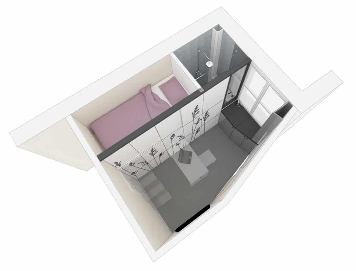 Dise o de departamento muy peque o planos construye hogar for Chambre 8 metre carre