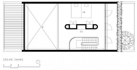 Plano de tercer piso de casa pequeña