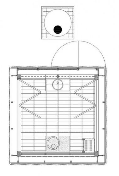 Plano de cabaña para acampar muy pequeña
