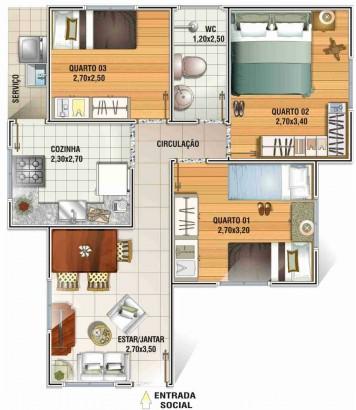 Plano de cabaña pequeña de 52 m²