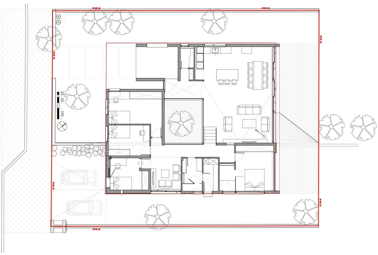 Plano de casa cuadrada de un piso construye hogar for Diseno casa en l