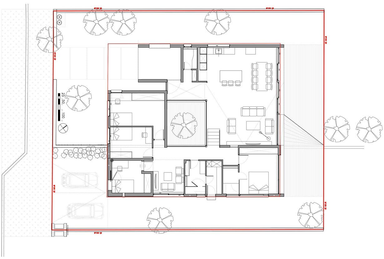 Plano de casa cuadrada de un piso construye hogar for Planos planos de casas