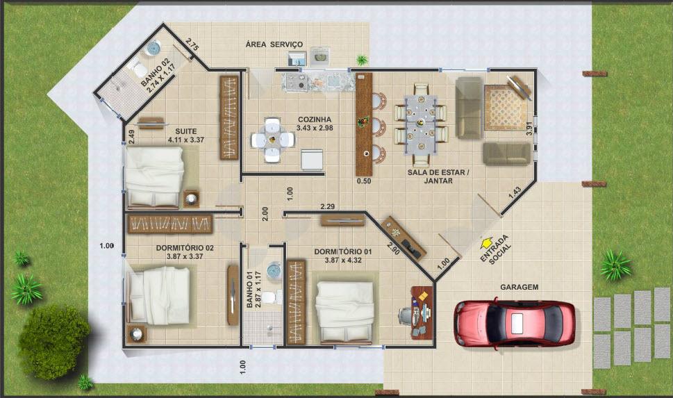 Planos de caba as de campo peque as construye hogar for Modelos de casas de una sola planta