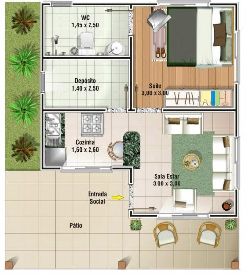 Plano de casa de campo de un dormitorio