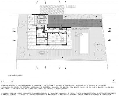 Plano de casa de dos pisos con piscina