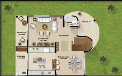 Plano de casa de dos pisos y tres dormitorios ubicado en esquina