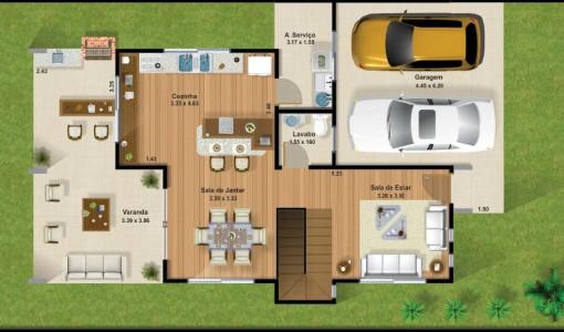 Plano de casa de dos plantas con garaje