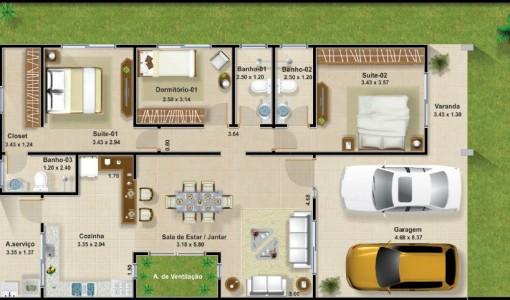 Plano de casa de un piso y tres dormitorios 002