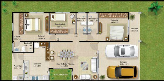 plano de casa moderna de un piso y tres dormitorios