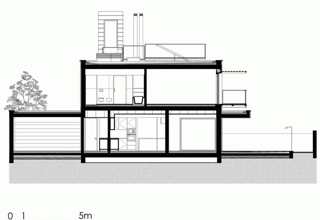 Plano de corte de casa con piscina 04 construye hogar for Planos de casas con piscina