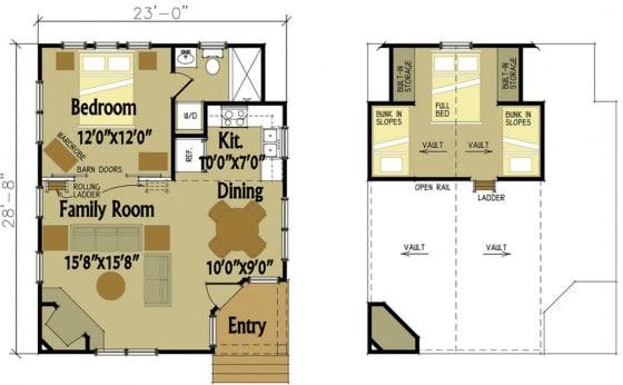 Plano de pequeña casa de campo de dos dormitorios