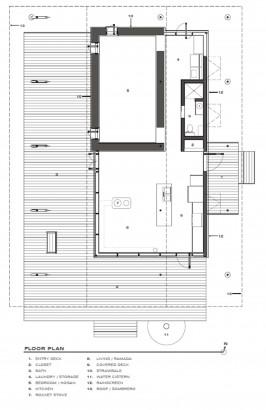 Plano de planta de pequeña casa rural de dos dormitorios