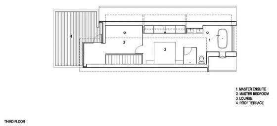 Plano de tercera planta de casa angosta