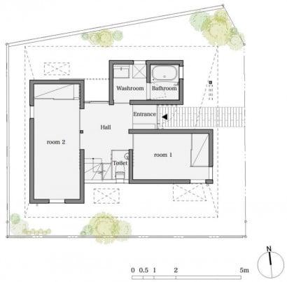 Plano del primer piso de casa muy pequeña