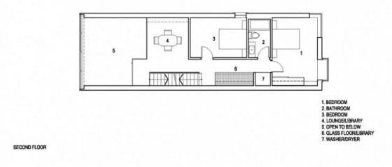 Plano del segundo piso de casa angosta
