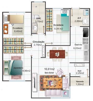 Planos de casa pequeña de tres dormitorios