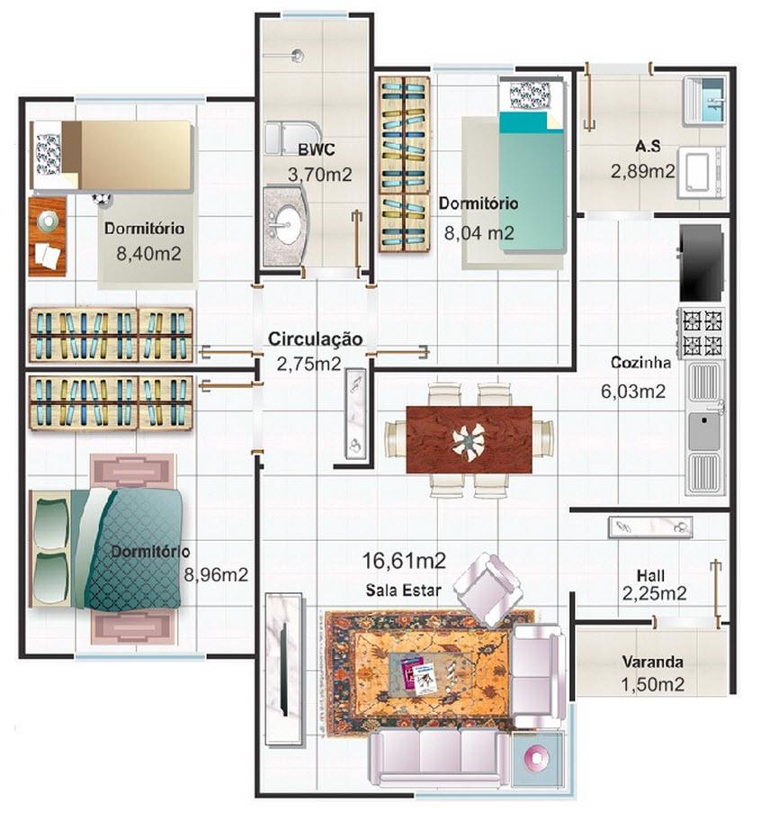 Casas y apartamentos dise os arquitect nicos for Planos de casas de dos plantas y tres dormitorios