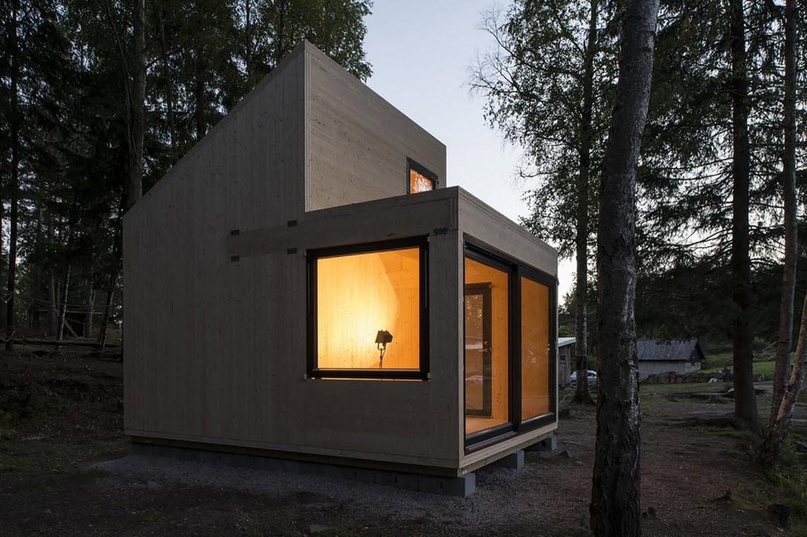 Dise o de caba a de madera monovolumen construye hogar - Como se construye una casa de madera ...