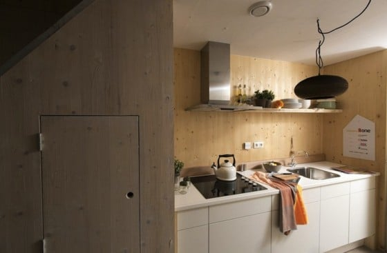 Diseño de cocina pequeñade casa prefabricada