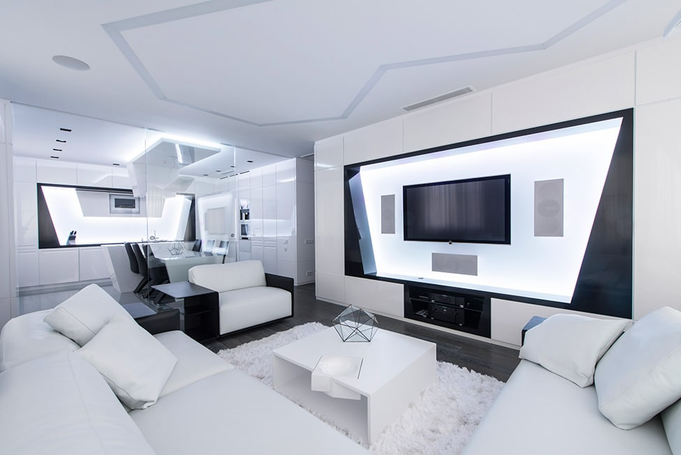 Dise o futurista de departamento construye hogar for Lujo interiores minimalistas