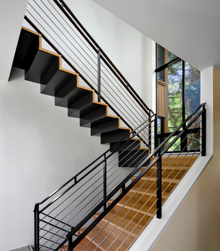 diseo de escaleras de acero y madera con pasamanos de hierro