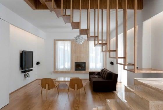 Diseño de escaleras de madera delgada