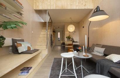 Diseño de sala de casa prefabricada