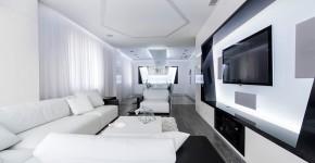 Diseño de sala de departamento futurista