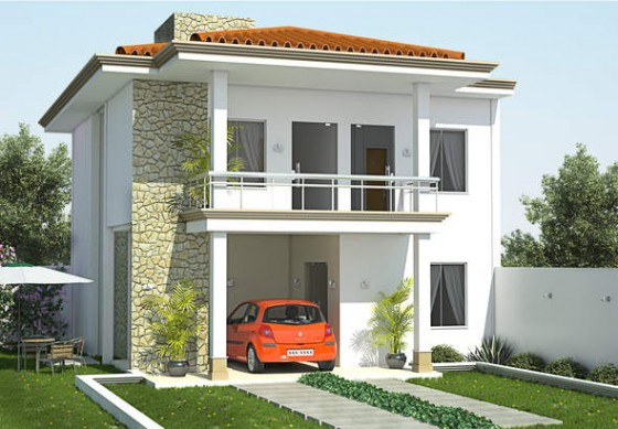 Fachada de casa de dos plantas y tres dormitorios