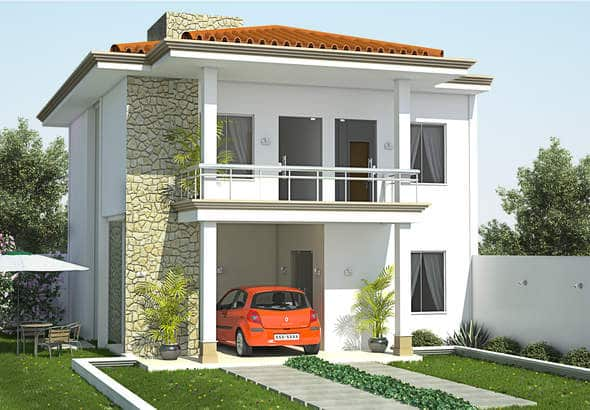 Casa de dos plantas con tres dormitorios moderna for Planos y fachadas de casas pequenas de dos plantas