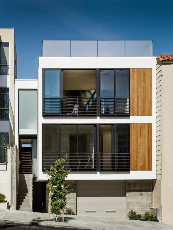 Planos de casa de tres pisos dise o moderno construye hogar for Fachadas de casas modernas entre medianeras