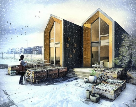 Fachada de casas pequeñas de madera prefabricadas