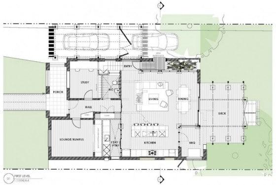 Plano de casa de dos pisos y cuatro dormitorios