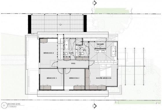 Plano de casa de dos pisos y cuatro habitaciones