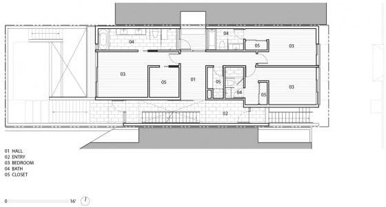 Plano de casa de tres pisos con negocio