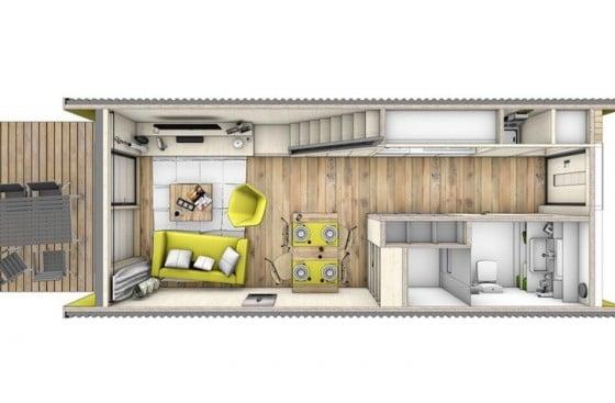 Plano de pequeña casa prefabricada