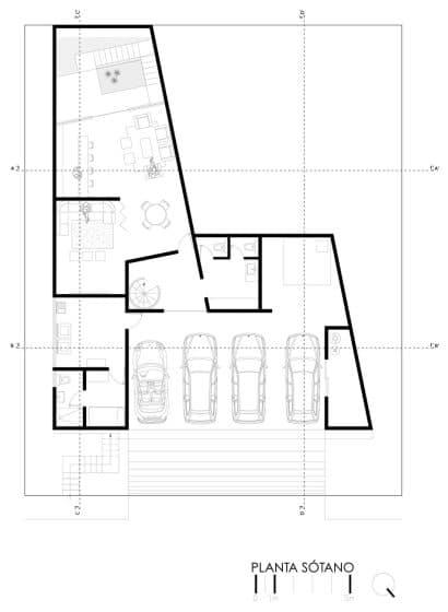 Plano de sótano de casa grande