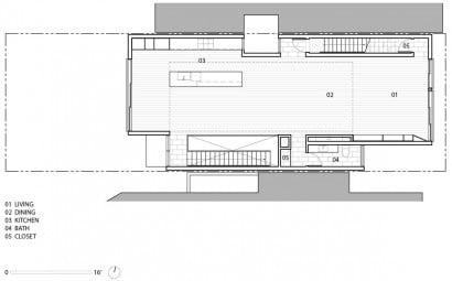 Plano del tercer piso de casa moderna