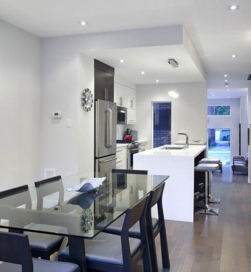 Planos de casa de dos pisos con fachadas e interiores for Diseno cocina comedor