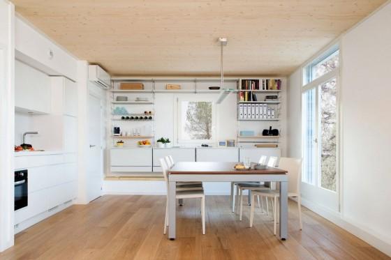 Diseño de cocina comedor sencillo de casa ecológico