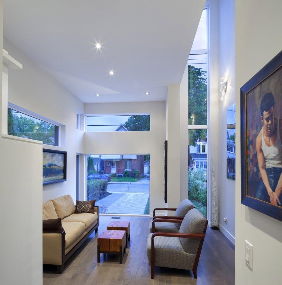 Planos de casa de dos pisos moderna, construcción en pequeño terreno
