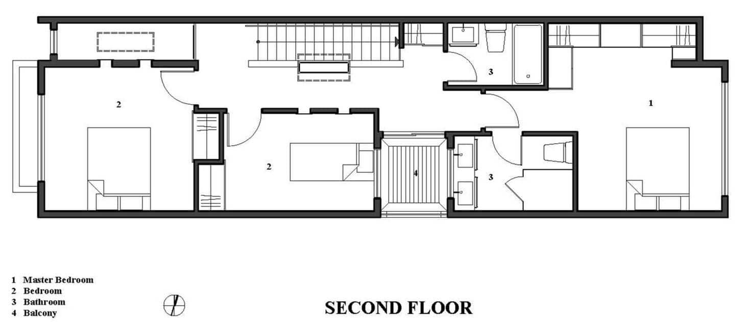 Baños En Segunda Planta:Planos de casa de dos pisos moderna, construcción en pequeño terreno