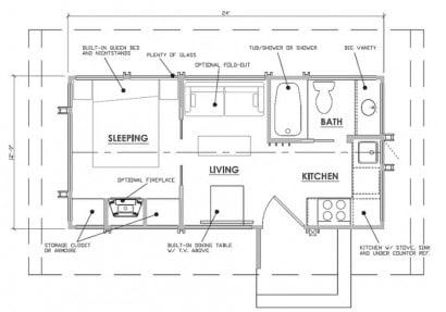 Plano de casa pequeña de madera de un dormitorio