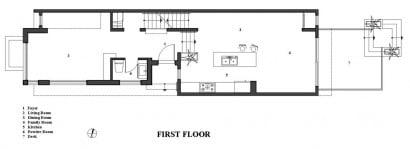 Plano de casas moderna de tres pisos