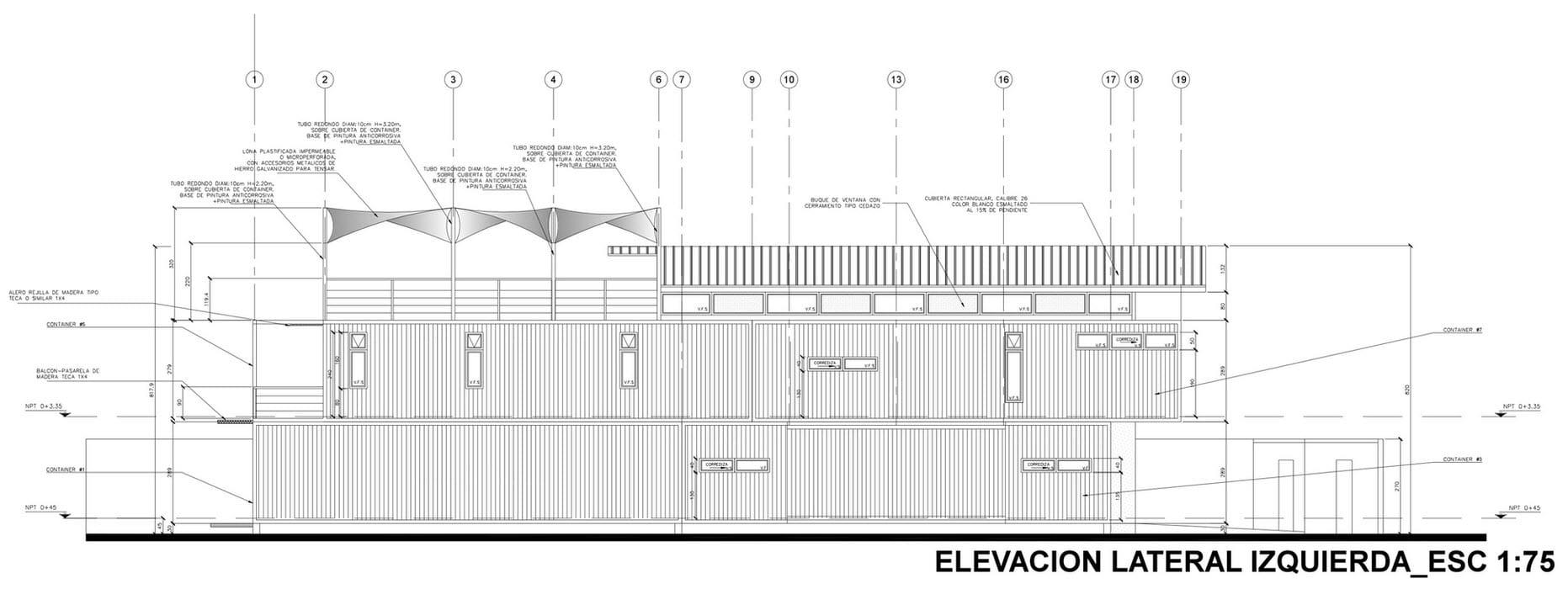 Plano de fachada lateral izquierda de casa contenedor reciclado ...