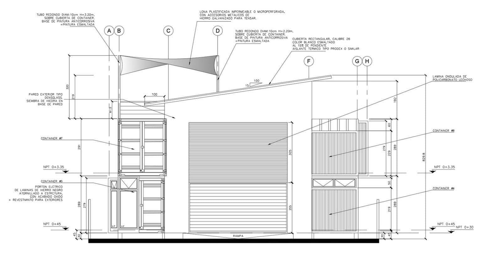 Plano de fachada principal de casa contenedor construye for Planos de fachadas