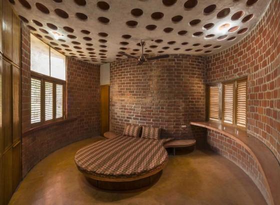 Diseño de dormitorio rústico semi circular