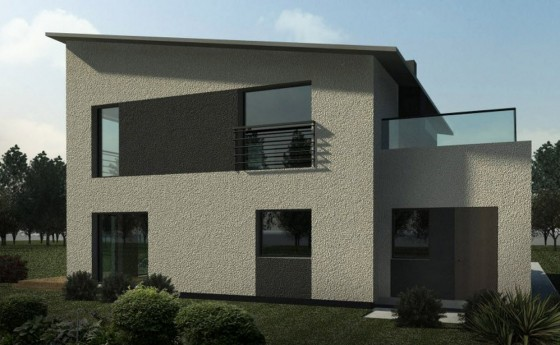 Fachada posterior de casa cuadrada de dos pisos