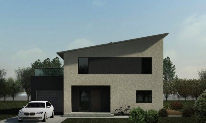 Fachada principal de casa de dos pisos cuadrada
